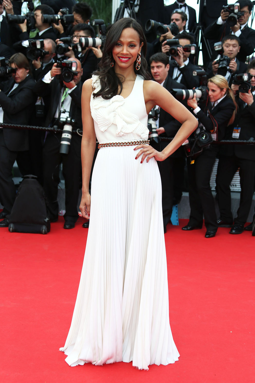 Zoe Saldana for the opening ceremony and the screening of Grace of Monaco at the 67th international film festival, Cannes, southern France, Wednesday, May 14, 2014. (Photo by Joel Ryan/Invision/AP)
