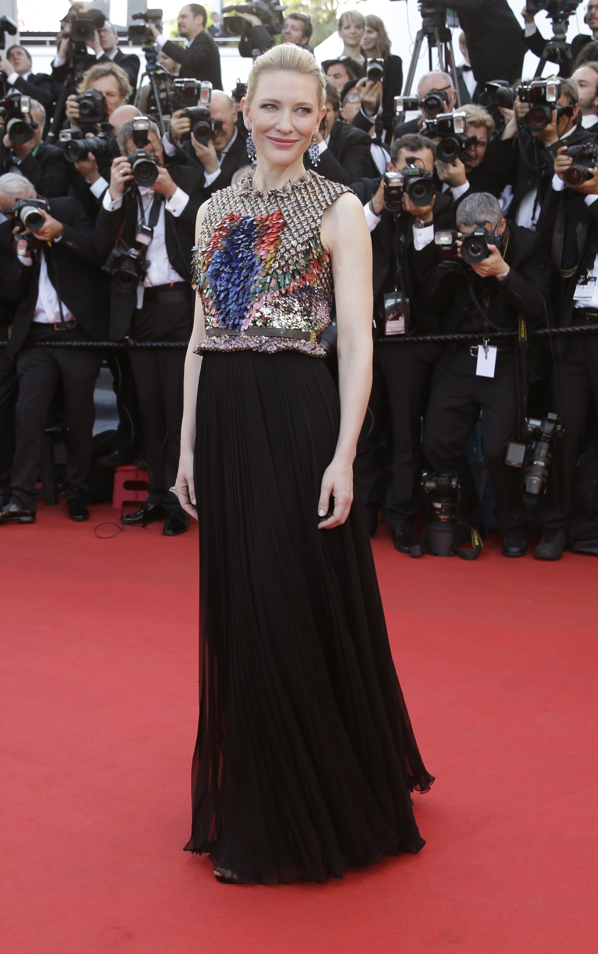 Actress Cate Blanchett poses for photographers as she arrives for the screening of How to Train Your Dragon 2 at the 67th international film festival, Cannes, southern France, Friday, May 16, 2014. (AP Photo/Thibault Camus)